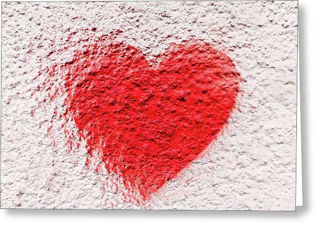 Symbol Of Love Painted On White Brick Wall Greeting Card by Alim Yakubov