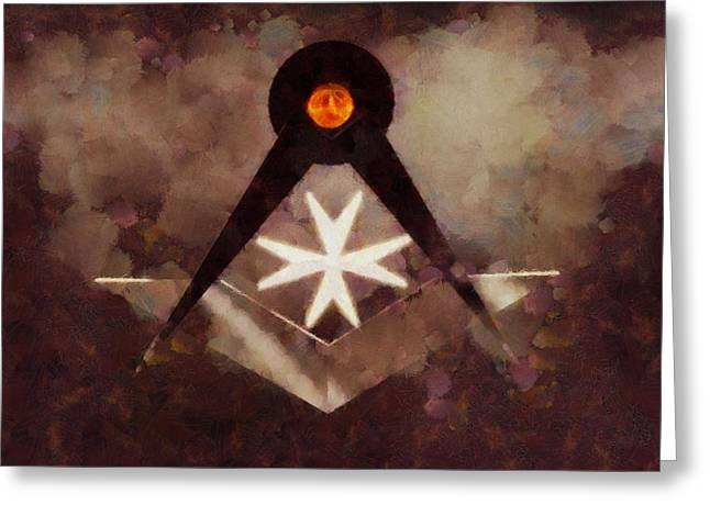 Symbol Of The Freemasons By Pierre Blanchard Greeting Card
