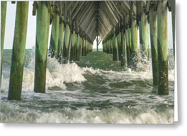Symbolic Surf City Pier Greeting Card by Betsy Knapp