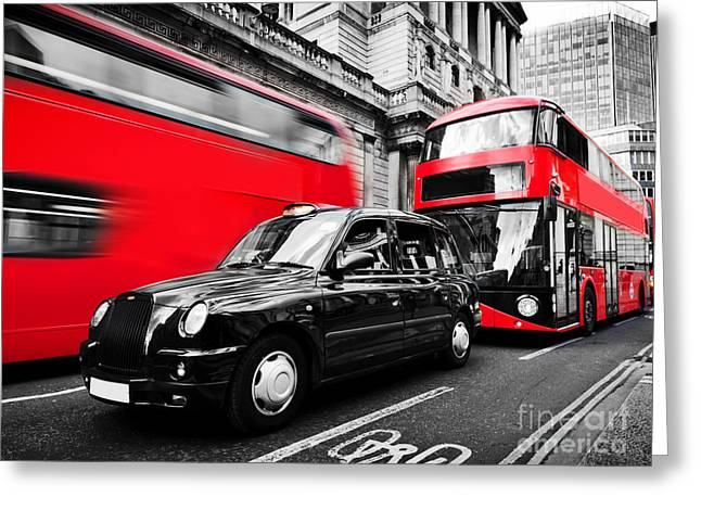 Symbols Of London, The Uk. Red Buses, Black Taxi Cab Greeting Card