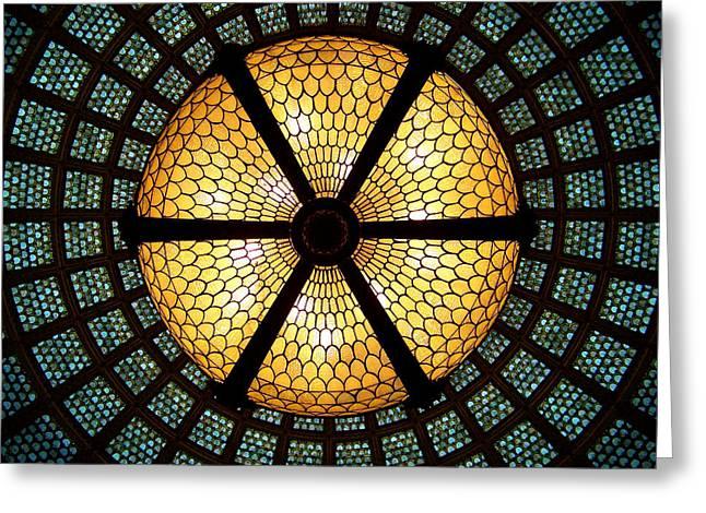 Symmetric Lights Greeting Card by Matt Cangelosi