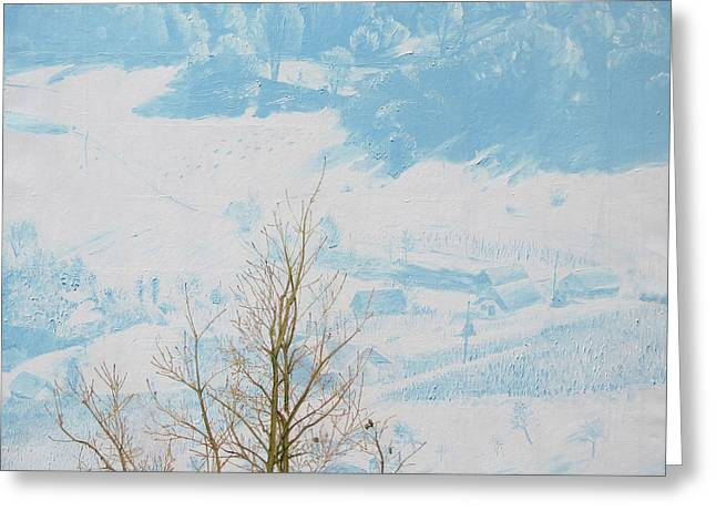 Symphony In The Snow Greeting Card by Veronika Logar