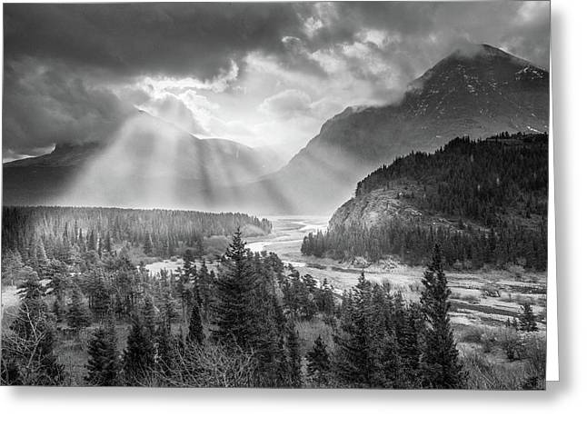 Symphony Of Light // Many Glacier, Glacier National Park Greeting Card