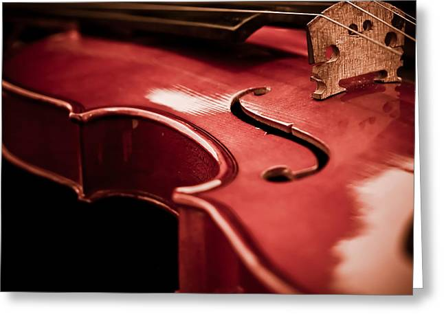Wood Instruments Greeting Cards - Symphony of Strings Greeting Card by Valerie Morrison