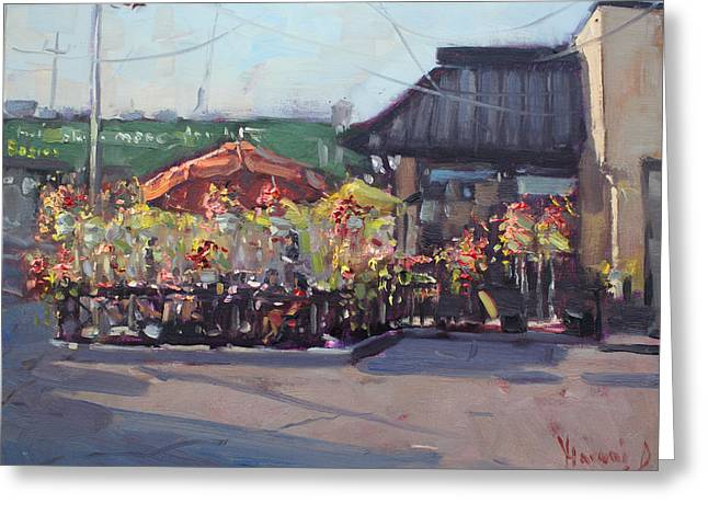 Symposium Cafe Restaurant - Georgetown Greeting Card by Ylli Haruni