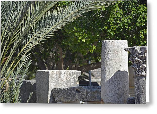 Synagogue Ruins At Capernaum In Israel Greeting Card by Bruce Gourley