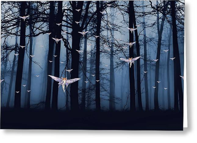 Synchronous Fairies Fly Greeting Card