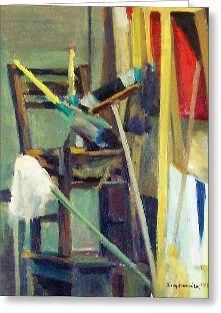 Synthesis With A Chair  Greeting Card by George Siaba