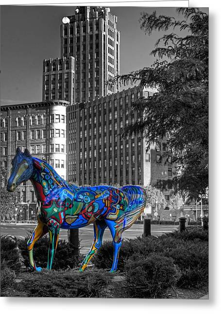 Greeting Card featuring the photograph Syracuse Horse by Don Nieman