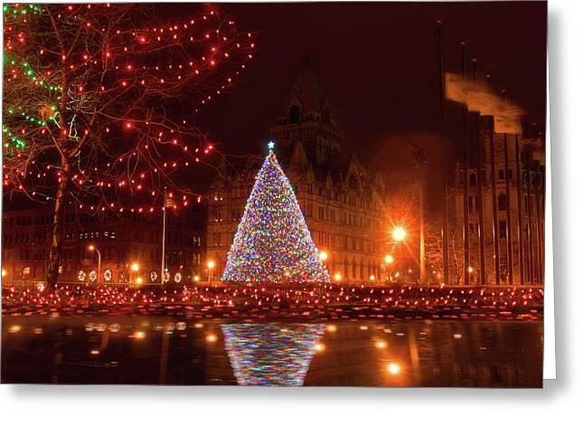 Syracuse, Ny Christmas Tree Greeting Card by Debra Millet