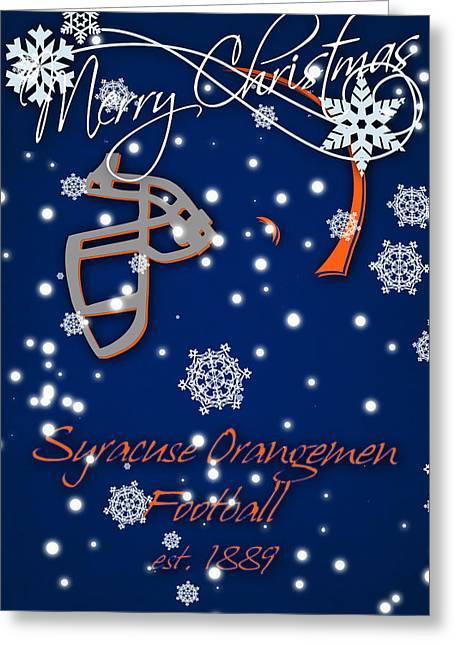 Syracuse Orangemen Christmas Card Greeting Card by Joe Hamilton