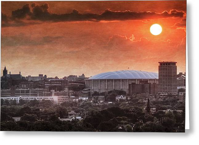 Syracuse Sunrise Over The Dome Greeting Card by Everet Regal