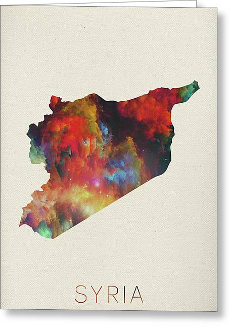 Syria Watercolor Map Greeting Card