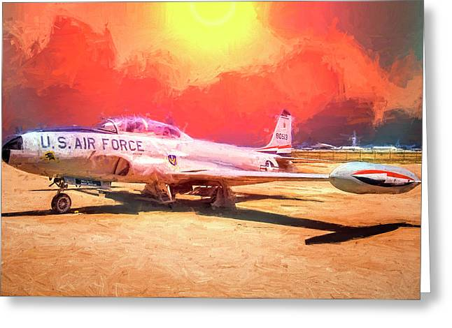 Greeting Card featuring the photograph T-33 In The Desert by Steve Benefiel