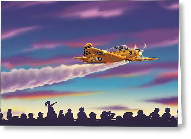 T-34 Night Show Greeting Card by Barry Munden