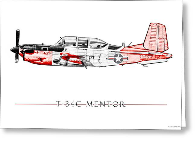 Trainer Greeting Cards - T-34C Mentor Greeting Card by Clay Greunke
