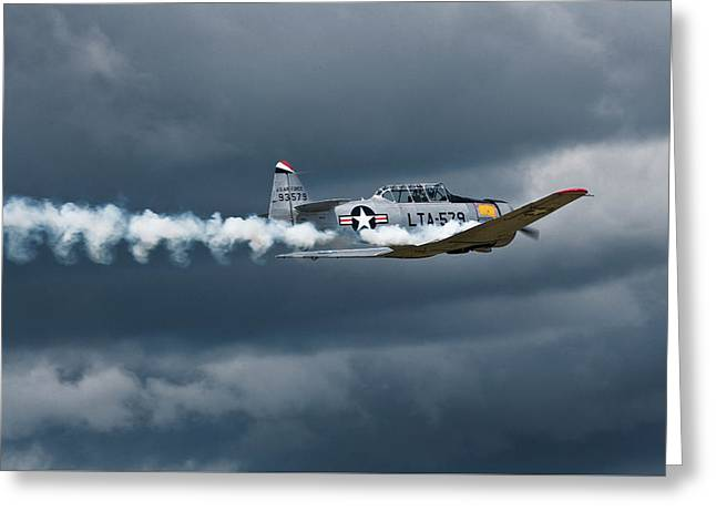 T-6 Texan Smoke On Greeting Card by Bruce Beck