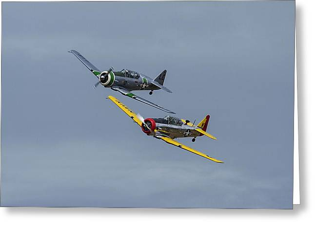 Greeting Card featuring the photograph T-6 Trainers by Elvira Butler
