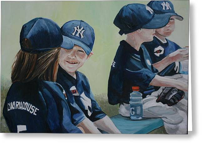 T Ball Friends Greeting Card by Charlotte Yealey