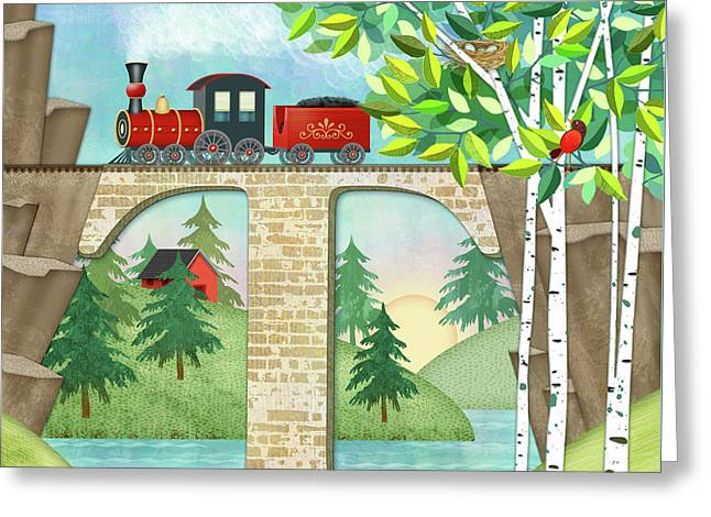 T Is For Train And Train Trestle Greeting Card