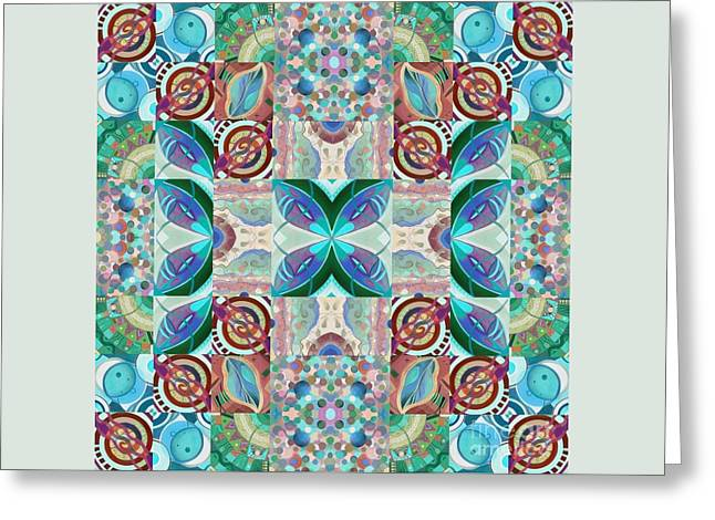 T J O D Mandala Series Puzzle 7 Arrangement 2 Inverted Greeting Card