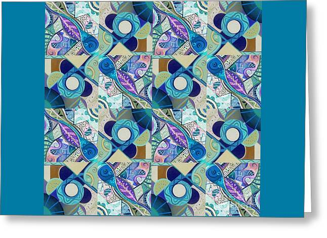 T J O D Tile Variation 4 Inverted Greeting Card by Helena Tiainen