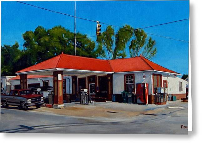 Doug Strickland Greeting Cards - T. R. Lee Service Station Greeting Card by Doug Strickland