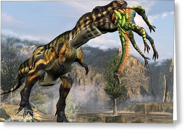 T-rex Appetizer Greeting Card