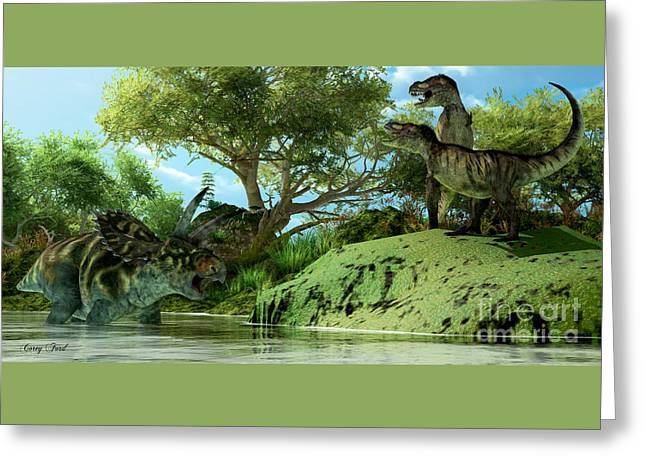 T-rex Defiance Greeting Card by Corey Ford