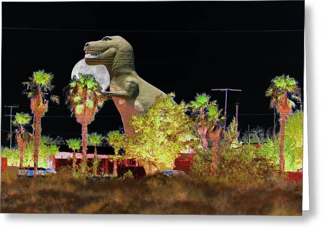 T-rex In The Desert Night Greeting Card