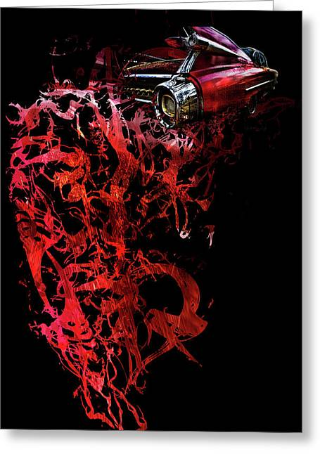 T Shirt Deconstruct Red Cadillac Greeting Card