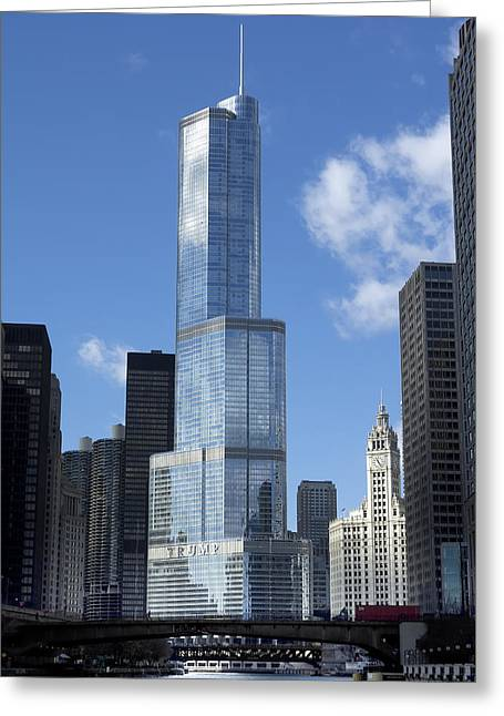 T Tower Chicago River Greeting Card