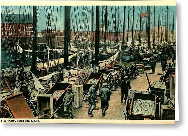 T Wharf-boston,ma Greeting Card by Robert Nickologianis