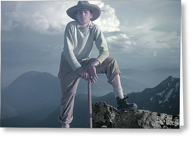 Greeting Card featuring the photograph T104800 Ed Cooper On First Climb Pinnacle Peak Wa 1953 by Ed Cooper Photography