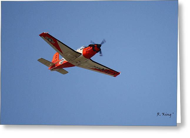 T34 Mentor Trainer Flying Greeting Card by Roena King