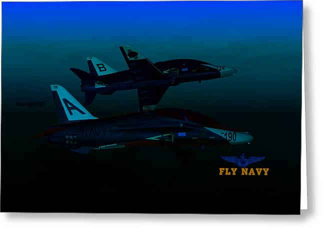 Greeting Card featuring the digital art T45 Kiss-off Wt Wings by Mike Ray