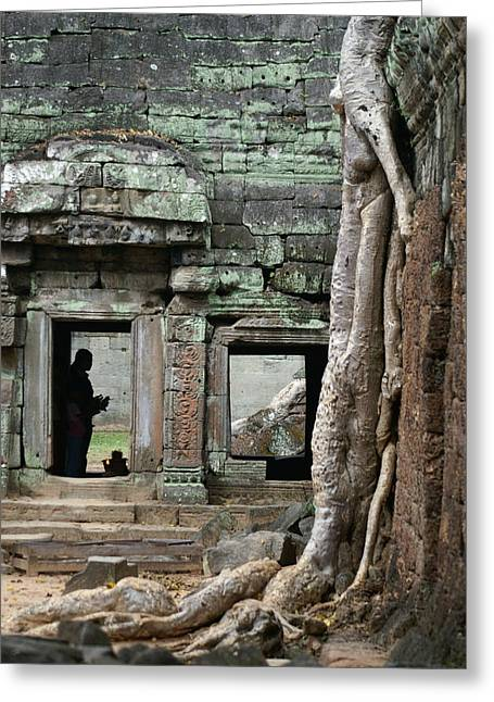 Ta Prohm Prayers Greeting Card by Jessica Rose