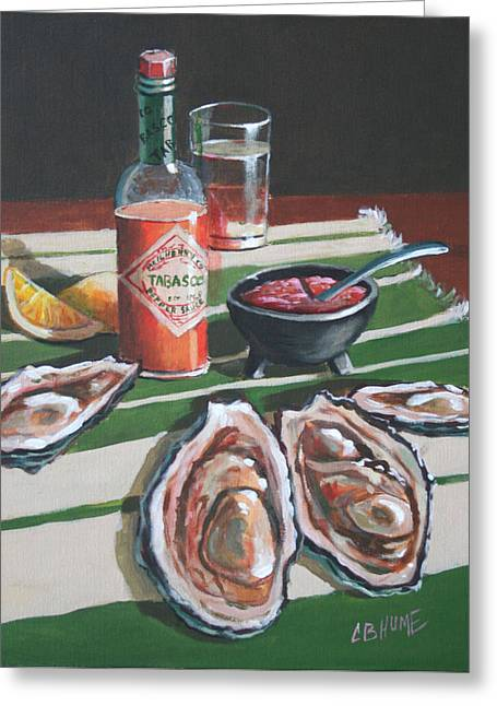 Tabasco And Oysters #2 Greeting Card by CB Hume