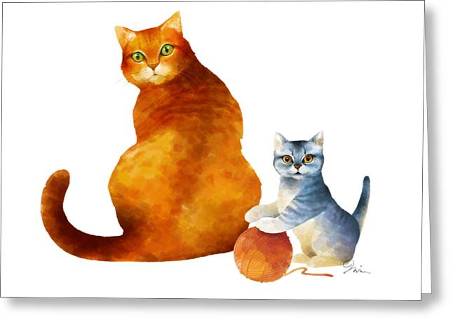 Tabby Cat And Kitten Greeting Card by Trevor Irvin