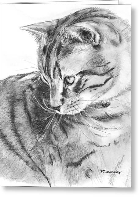 Tabby Cat In Profile Drawing Greeting Card by Kate Sumners