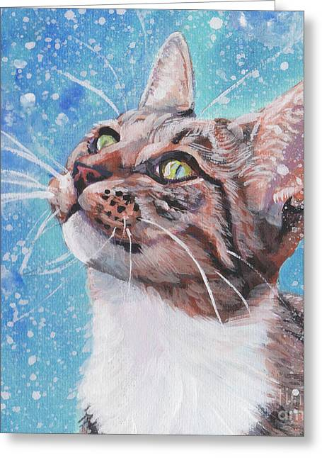 Greeting Card featuring the painting Tabby Cat In The Winter by Lee Ann Shepard