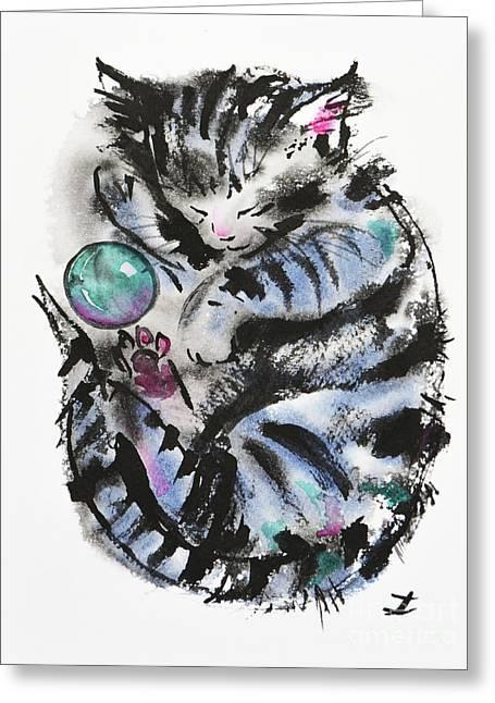 Tabby Dreams Greeting Card by Zaira Dzhaubaeva