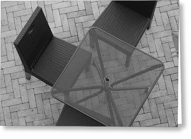 Table Chairs From Above Greeting Card by Rob Hans
