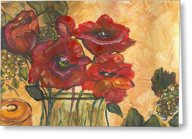 Table Flowers Greeting Card by Pamela Wilson