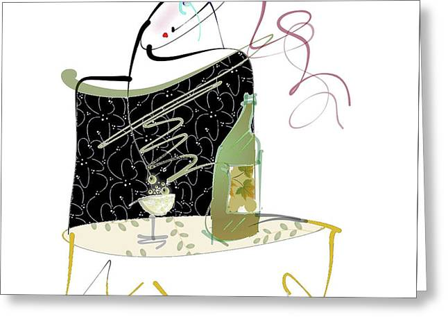 Greeting Card featuring the mixed media Table For One by Larry Talley