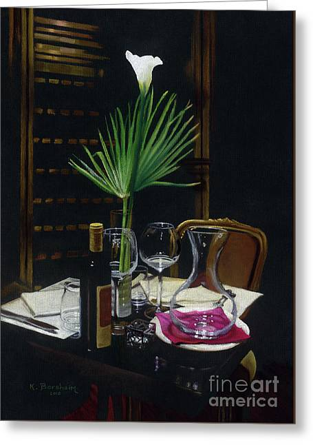 Table For Two A Night's Promise Greeting Card by Kelly Borsheim