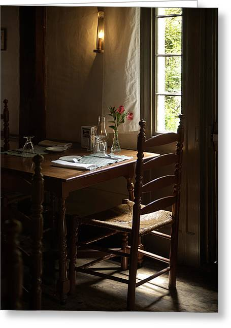 Wayside Inn Greeting Cards - Table for Two Greeting Card by Lee Fortier