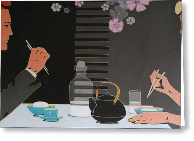 Table For Two Greeting Card by Varvara Stylidou
