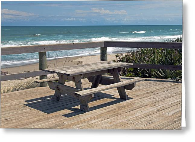 Table For You In Melbourne Beach Florida Greeting Card by Allan  Hughes