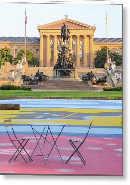 Table In Front Of The Philadelphia Art Museum Greeting Card